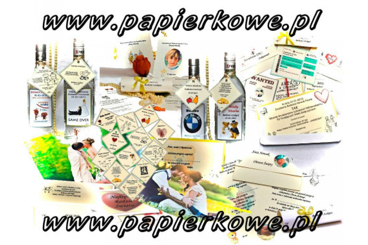 Papierkowe.pl Zaproszenia Etykiety i Zawieszki na Wódkę Winietki na Stół Drukowanie Zdjęć